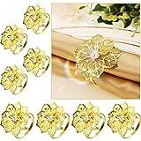 InFreesh 8 Stück Serviettenring Gold, Blütenförmiger Serviettenringe, Schön und Langlebig, für Party, Bankett, Abendessen, Hochzeit Tischdekoration Verwendet