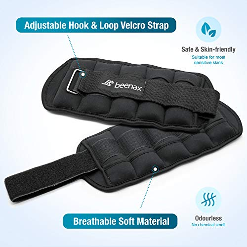 Beenax Adjustable Ankle Weights (Set of 2) - Ankle Wrist Weights Straps - 0.5KG to 1.6KG per Ankle / 1KG to 3.2KG for a Pair - Removable Weight Bags - Walking, Gym, Aerobics, Physical Therapy