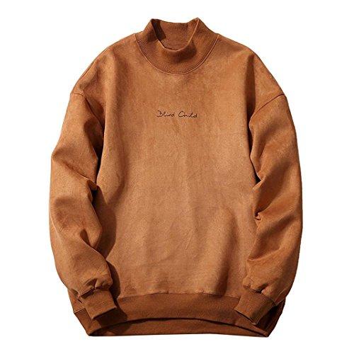 VENMO Herren Winter Fashion schlank gestaltetes Top Strickjacke Mantel Sweatshirt Kapuzenpullover Sweatshirt mit Kapuze streifenpullover Outdoorjacken Wollpullover Rollkragenpullover (Khaki, 2XL)