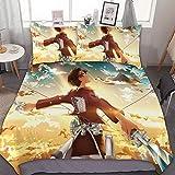TIANAIS Juego de ropa de cama de 3 (1 funda, 2 fundas de almohada sin sábana) Attack on Titan 136 juegos de cama king size
