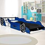 Deuba Lit Voiture F1 Enfant Design Formule 1 - Bleu - Coins arrondis