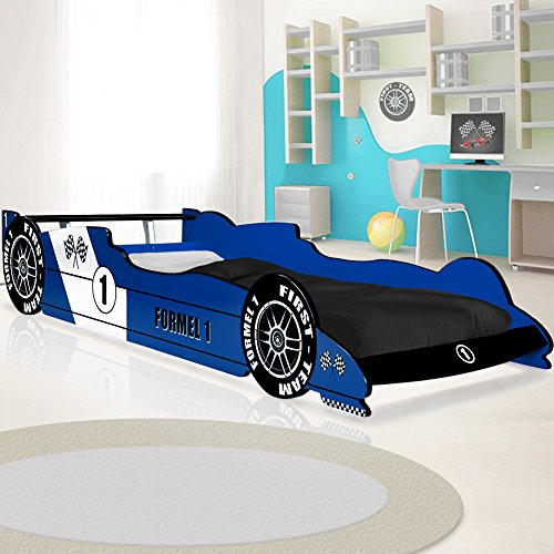 Lit voiture F1 enfant design Formule 1 - bleu - coins arrondis