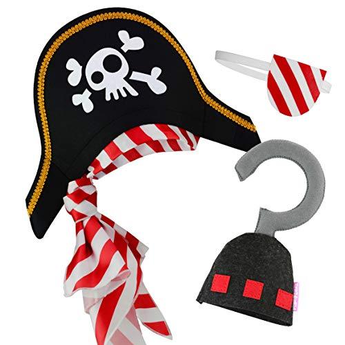 Sombrero Pirata Parche en el Ojo Gancho de Pirata para niños Disfraz de capitán caribeño y Adolescentes