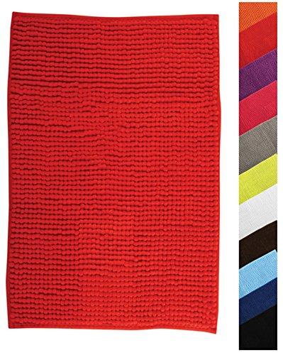 MSV Badteppich Badvorleger Duschvorleger Chenille Hochflor Badematte 60x90 cm – Rot