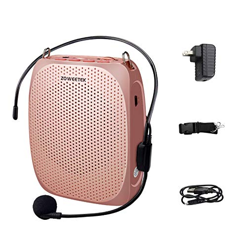Zoweetek Voice Amplifier with Microphone Headset,1800 mAh Rechargeable Portable Amplifier for Teachers, Tour Guide,Yoga,Fitness, Training, Meeting,Classroom