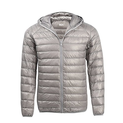 M2C Mens Hooded Lightweight Windproof Puffer Duck Down Jacket X-Large Grey