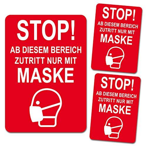 Maskenpflicht Aufkleber Sticker Zutritt nur mit Maske Markierung Hinweis Hinweisschild für Handel Einzelhandel Behörden Folie selbstklebend R110 (3er Set Zutritt Maske)