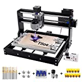 2 in 1 7000mW CNC 3018 Pro Engraver Machine,GRBL Control 3 Axis DIY Router Kit Plastic Acrylic PCB PVC Wood Carving Milling Engraving Machine with Offline Controller+10PCS Router Bit