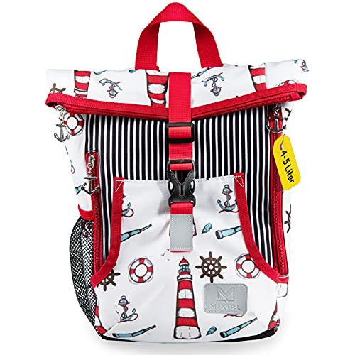 MIXIRL® Kindergartenrucksack mit Namen für Jungen & Mädchen   1-2 Jahre   hochwertiger Kinderrucksack mit Brustgurt für einen gesunden ideal für Wanderungen, Kita & Kindergarten