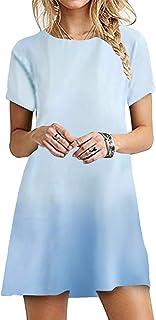 OMZIN - Vestido de mujer de manga corta, informal, de corte redondo, en tallas grandes, de 2XS a 5XL Jb-azul claro. XL