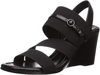 Donald J Pliner Women's Leigh-Aqd Wedge Sandal, Black/Black, 5 B US