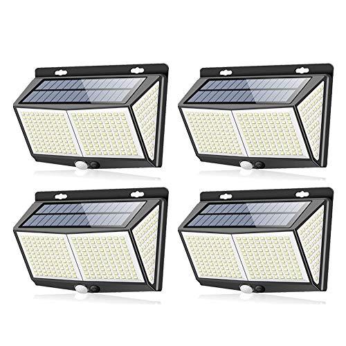 CHANGJ Luz Solar Exterior LED【3 Modos】con Sensor De Movimiento, Luces LED Solares Exteriores Lluminación Focos Solares Exterior Impermeable Aplique Lampara Solar para Exterior Jardin