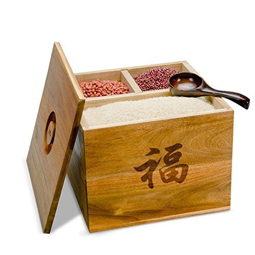ZWL Boîte de rangement de grain, boîte en bois solide de riz de boîte de stockage de céréales de lutte antiparasitaire conservation de l'humidité boîte de rangement de grain de ménage de cuisine 36 * 36 * 27.5CM Récipient sain de stockage de céréales ( Capacité : 20KG )