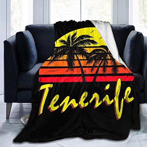 Nat Abra Tenerife Vintage Sun Fleece Manta de Franela Throw Light Ultra-Soft Warm Bed Blanket Fit Sofa Adecuado