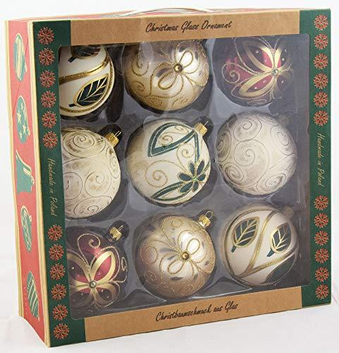 Vitbis A0055 Set Ornamenti di Natale in Vetro