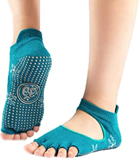 HappyTime Calcetines de Yoga Cintura Alta Cinco Dedos Calcetines Mujeres otoño e Invierno Profesional Yoga Antideslizante Calcetines Abierto atrás Toe Transpirable Deportes