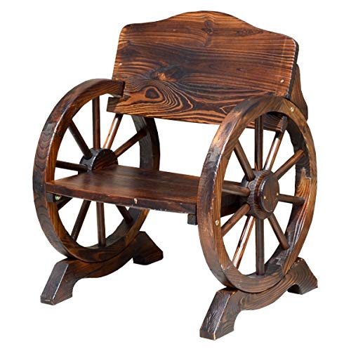 木製ベンチ ガーデン 屋外 車輪 ベンチ アンティーク 庭 テラス ダークブラウン 1人掛け