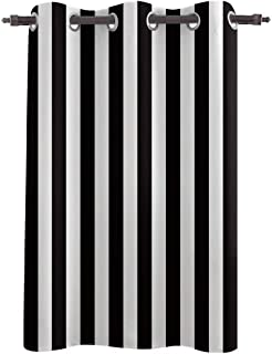 Kitchen Bedoom Curtain Grommet Window Curtain Panels and Drapes,Window Treatments for Living Room Soft 1 Panel,Black White...