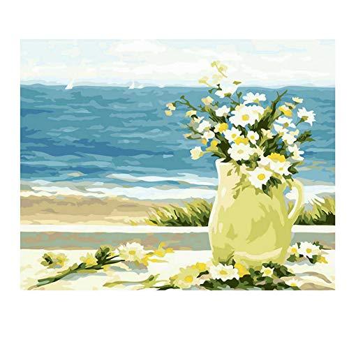 ZWBBO Canvas schilderij Decoratieve schilderijen Zee Bloem Olie Schilderen Door Getallen Acryl Verf Muur Schilderen Vaas Foto Kleurplaten Door Getallen Op Canvas Home Decor