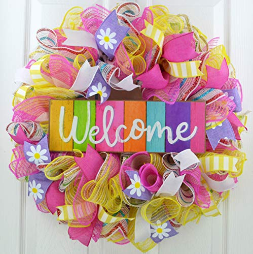 Summer Spring Welcome Door Wreath   Mother's Day Gift   Pink Purple Yellow White