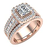 Princess Cut Diamond Cushion Halo Wedding Ring Set 1.60 carat total weight 14K Rose Gold (Ring Size 8) (G, I1)