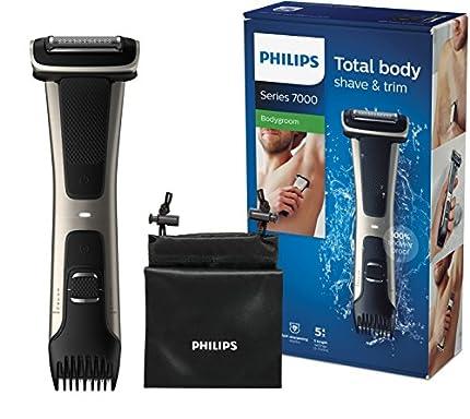Philips Serie 7000 BG7025/15 - Afeitadora corporal con cabezal de recorte y de afeitado, 80 minutos de uso, apta para la ducha, color negro