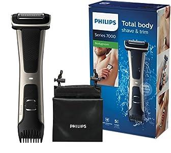 Philips Serie 7000 BG7025/15 - Afeitadora corporal con cabezal de recorte y de afeitado, 80 minutos de uso, apta para la ducha, color negro/dorado