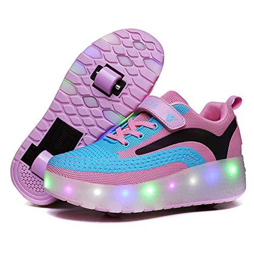 Unisex Kinder LED Farbe Licht USB Wiederaufladbar Skateboardschuhe mit Rollen Drucktaste Einstellbare Hinterrad/Abnehmbares Vorderrad Rollerblades Inline Skates Running Sneaker für Jungen Mädchen