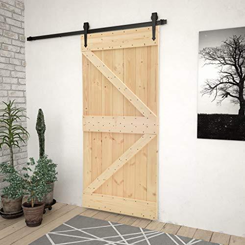 Ausla Puerta corredera de madera maciza de pino, sistema de puertas correderas no incluidas, 90 x 210 cm