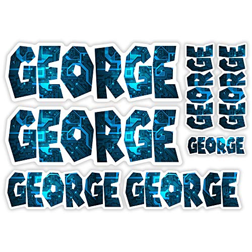 "Vinyl-Aufkleber ""George"" – A5 Bogen Computer Chip Laptop Name Kinder Geschenk #30002, multi, A5 Sheet"