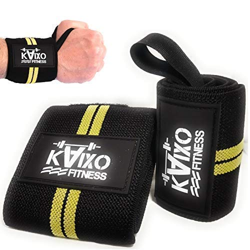 KAIXO FITNESS muñequeras deportivas gym cross wods. Muñequeras para entrenamientos gym, levantamiento de pesas y fitness. Hombre y mujer (Amarillo)