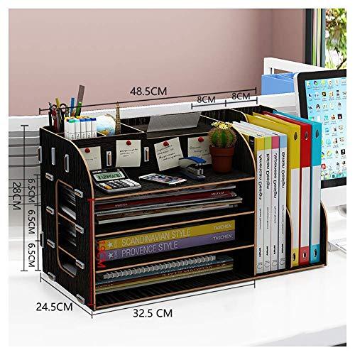 Bestandskast Bestandskast multi-functionele multi-layer desktop map in massief hout A4 type kantoor lade met blok Plank voor bestand data opslag desktop bestand data classificator Pen houder rack voor desktop