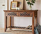 Vivek Wood Wooden Console Table for Living Room | Side Entrance Table for Home with 2 Drawers & Shelf Storage | Sheesham Wood, Honey Finish