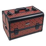 Beauty Case 21 L Kosmetikkoffer Spiegelkoffer Alu + Spiegel Schwarz / Rot Barock