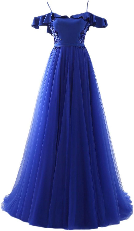 Maricopyjam Women's Spaghetti OffTheSholder Flounced Edging Backless Long Pageant Dress