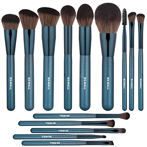 BSMALL Makeup Brush Set 14Pcs Premium Synthetic Professional Makeup Brushes Foundation Powder Blending Concealer Eye shadows Blush Makeup Brush Kit Deep Starry Blue