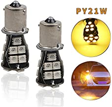 for KIA cerato 12V Super Bright PY21W BAU15S 18-SMD LED Rear Turn Signal Light Source Error Free Yellow Car Lamp Replacement Bulbs Pack of 2