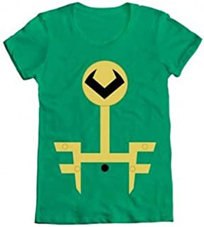 Marvel Loki Kawaii Minimal Kid Loki Symbol Juniors Green T-Shirt