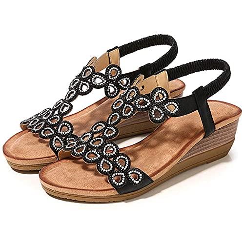 Nuevas sandalias de verano para mujer, cómodas sandalias de banda elástica con punta abierta de tacón de cuña baja, sandalias de cuña bohemias con diamantes de imitación, sandalias de playa de moda