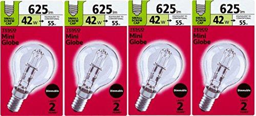 Tesco Energiesparlampe, Golfballform, 42 W (= 55 W-60 W), SES E14, Eco-Halogen-Leuchtmittel, klar, rund, energiesparend, kleine Schraube, dimmbar, 625 Lumen, 4 Stück