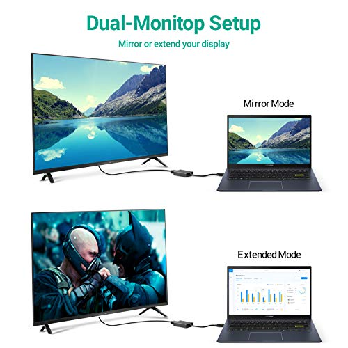 FLYLAND USB zu HDMI Adapter, USB 3.0 zu HDMI, Full HD 1080P Video Grafikkabel Adapter HDTV TV Audio Video Multi-Display Konverter Kompatibel mit Windows 7/8/10 PC (NO MAC & Vista) (schwarz)
