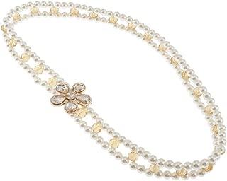 Prettyia Fashion Pearls Beads Waist Belt for Dress - 65cm (25.6inch) Long - Slim Waist Chain Elastic for Women