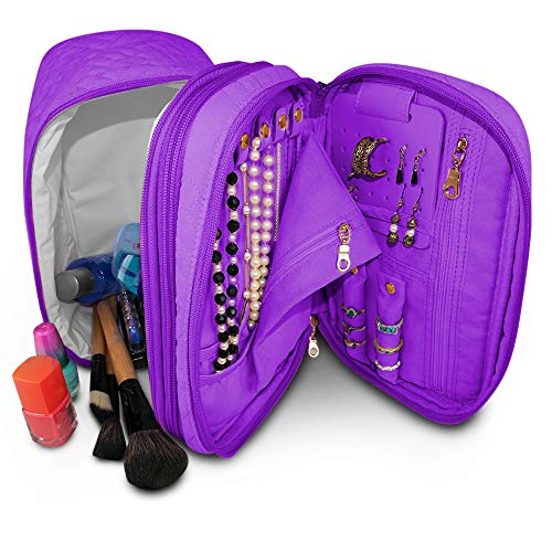 Silverflye Travel Jewelry Organizer and Makeup Bag: All-in-ONE Travel Jewelry Organizer and Lined Leak-Proof Makeup Bag (Purple)