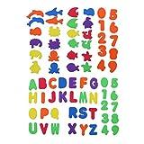 TOYANDONA - 70 piezas de espuma para baño, juguetes de alfabeto, letras número mar, animal, espuma autoadhesiva, educativa, bañera para bebé y niños