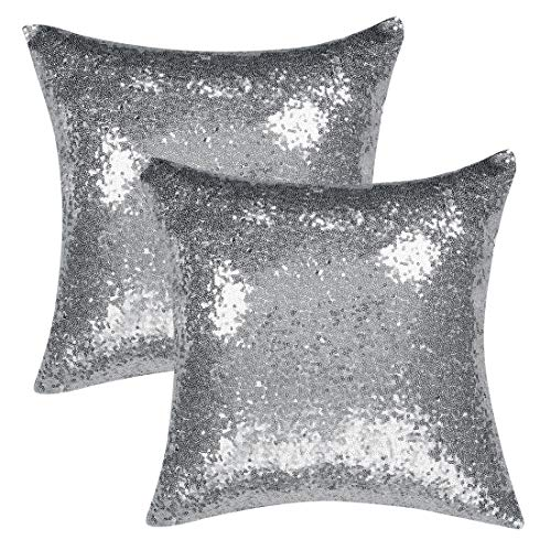 sourcing map Pack of 2,Sequin Throw Pillow Covers,Shiny Sparkling Comfy Satin Cushion Covers,Decorative Pillowcases for Party/Christmas/Thanksgiving/New Year,16 x 16 Inch, Silver Tone