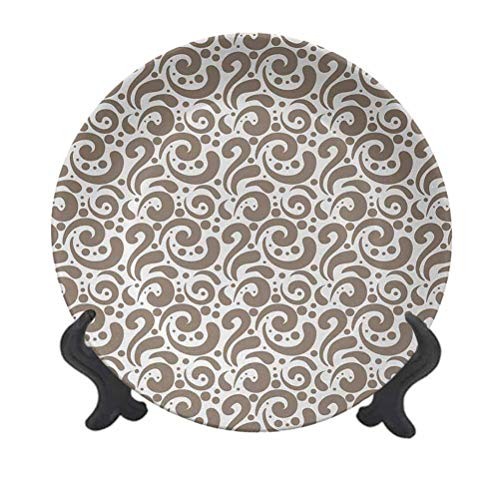SfeatrutMAT 10' Art Dinner Plate,Swirled Curved Bold Lines Brushstrokes Big and Little Polka Dots Circular Abstract Ceramic Tableware Plate for Dining Table Tabletop Home Decor Cocoa White