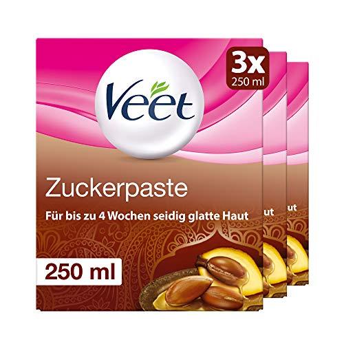 Sugaring Zuckerpaste zur Haarentfernung 3er Pack für spürbar glatte Haut für bis zu 4 Wochen Veet Zuckerpaste 3x250ml