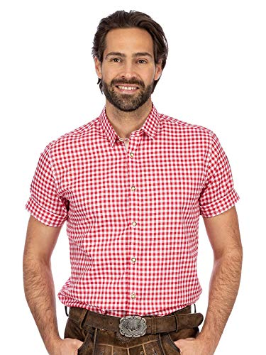 Stockerpoint Herren Hemd Connor Trachtenhemd, Rot (Rot Rot), Large (Herstellergröße: L)