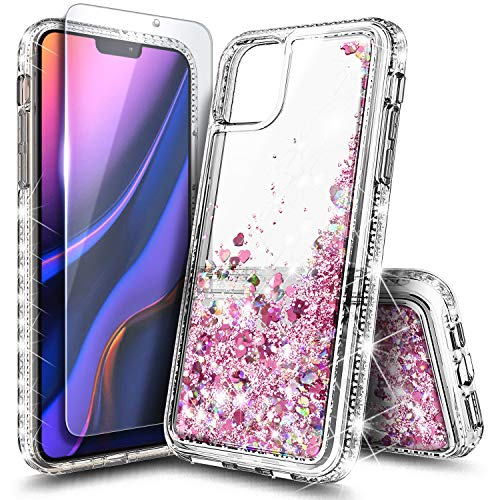NZND Case for iPhone 12 Pro Max (6.7 inch, 2020) with Tempered Glass Screen Protector, Sparkle Glitter Flowing Liquid Quicksand with Shiny Bling Diamond, Women Girls Cute Phone Case Cover -Rose Gold
