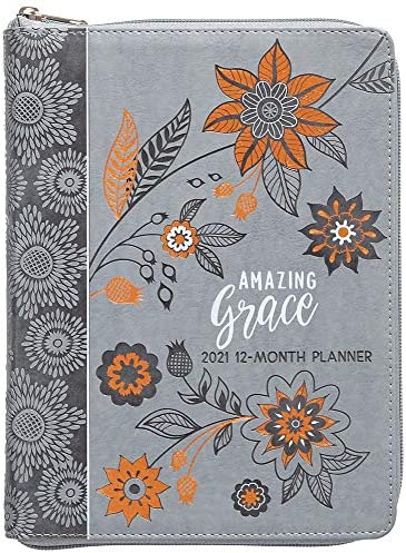 Amazing Grace Gray 2021 Planner 12 Month Ziparound Planner product image